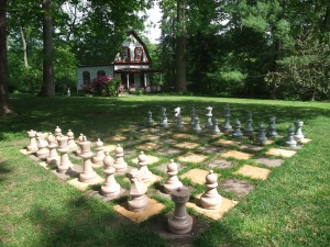 Custom giant chess set at bed and breakfast