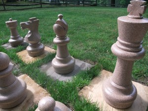 Painted giant chess set