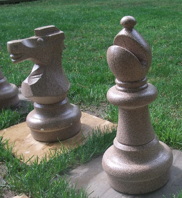 Giant chess set painted closeup