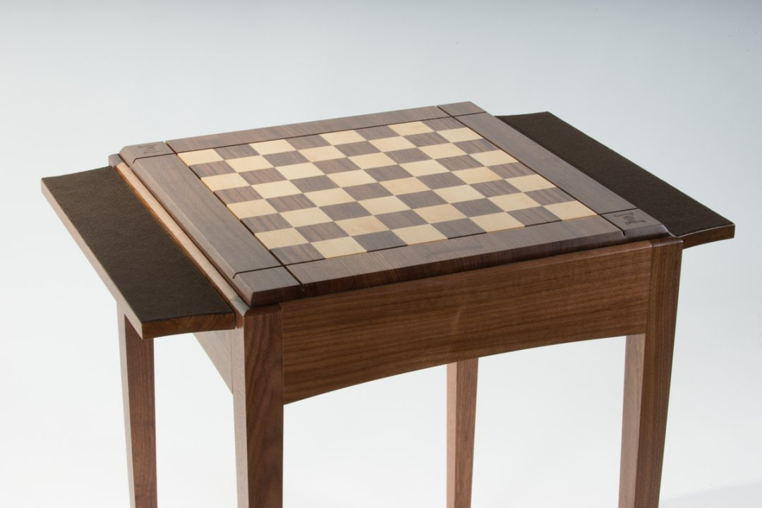 Chess Table with side shelves shown felted side up.