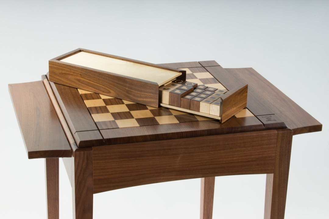 Chess Table with box and in-house design pieces