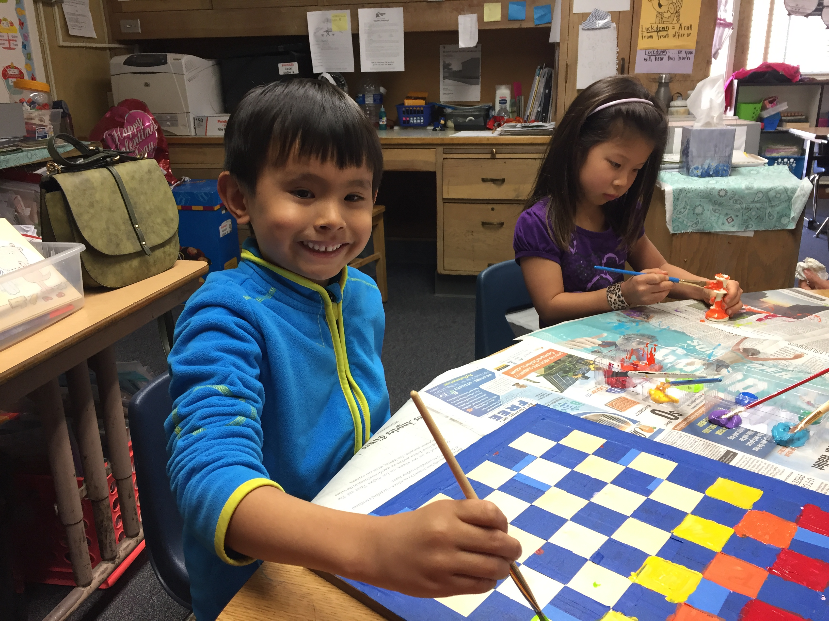 Kindergartners Paint Chess Sets
