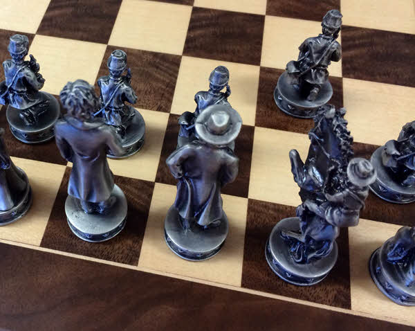 Civil War Chess Set board and piece square size example