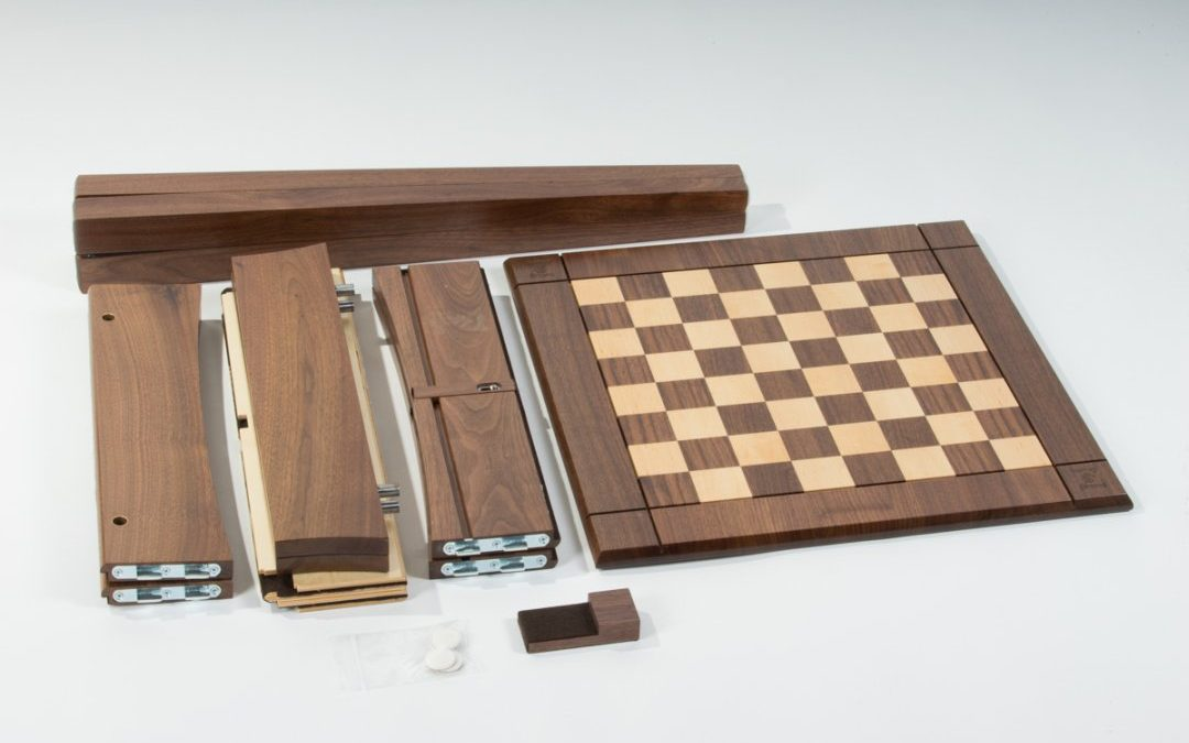 USA Made Walnut Maple Chess Table: Space-Saving Elegance