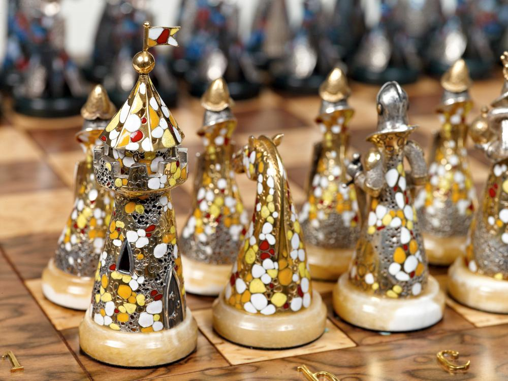 Andriy Kovalyk designs astonishing silver pieces. One of his silver chess sets shown here was inspired by Spain's Salvador Dali museum and was created from several materials such as silver gilt, enamel and jasper stone.