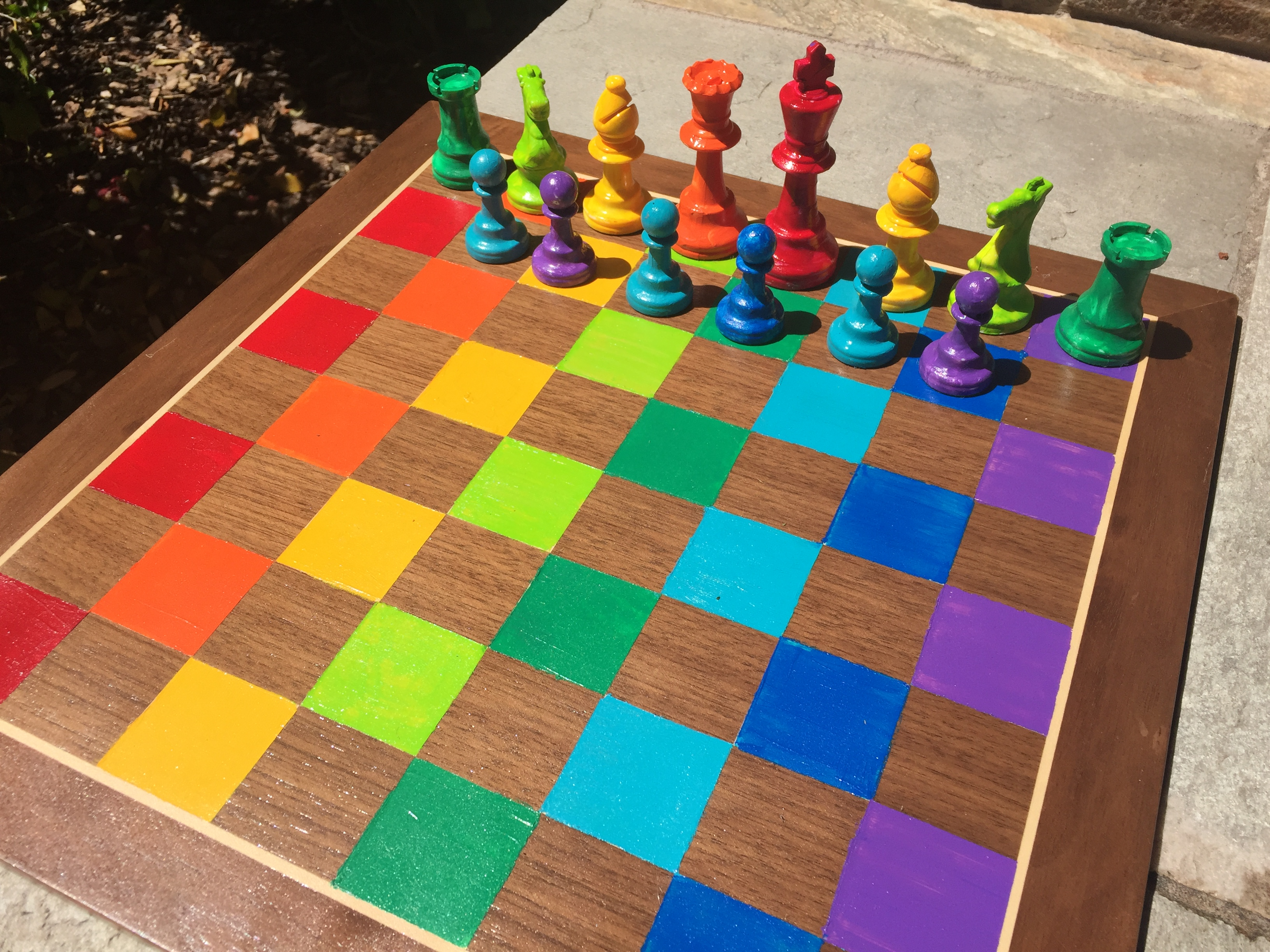 Kindergartners Paint Chess Sets Including this rainbow one