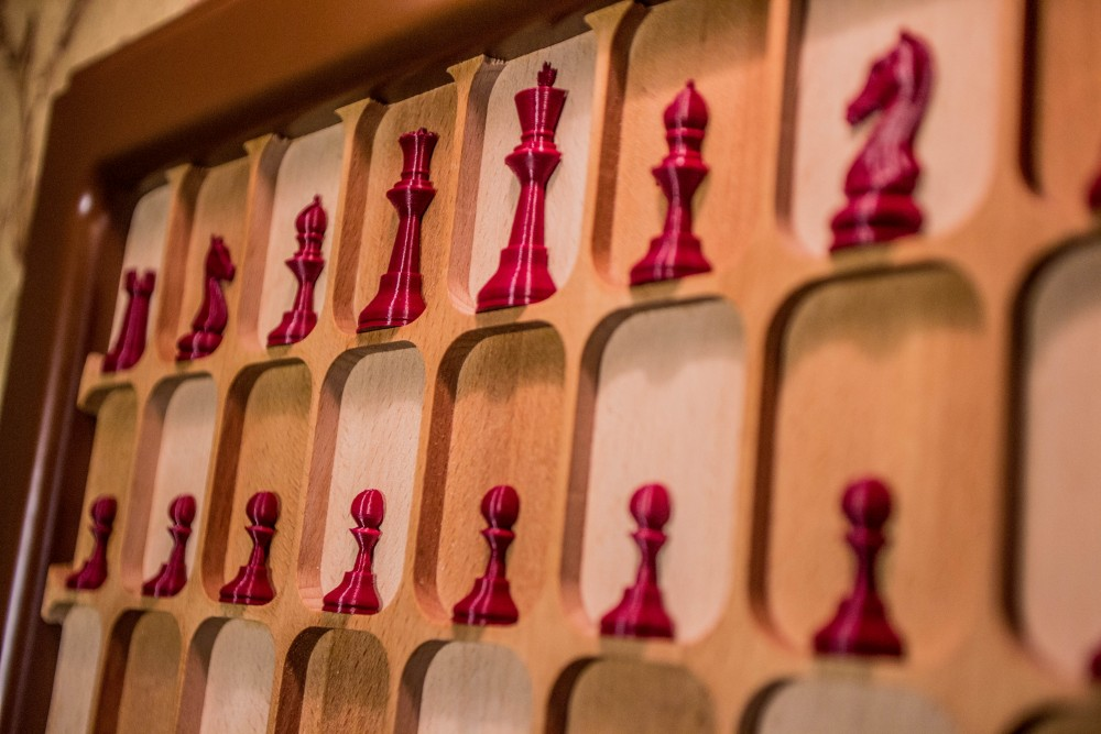 close up of wall mounted chess board